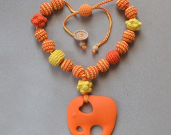 "Sling teething necklace ""Tangerine elephant"""