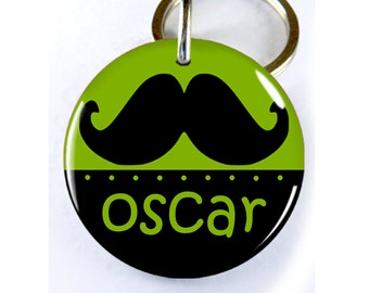 Funny Dog ID Tag Pet id tags Unique pet tags Mustache