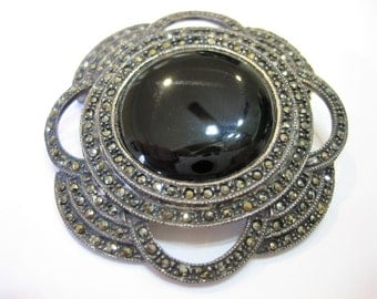 Vintage Art Deco Marcasite Sterling and Onyx Brooch Pin 15 Grams
