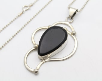 """Large Artisan-Crafted Abstract Onyx Pendant on 30"""" Chain in Sterling Silver. [10891]"""