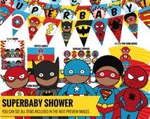 Afro-American Superhero baby shower pack, inspired by Captain America, Flashman, Batman, Spiderman and Superman- Superhero decor - PDF files