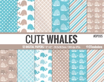 Whales digital paper pack - Baby boy digital papers with cute blue whales backgrounds - Blue baby backgrounds - Baby boy digital papers