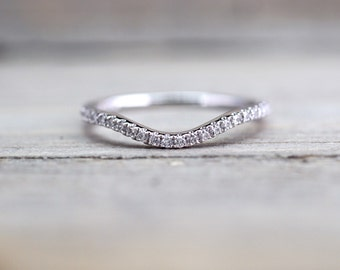 14kt White Gold Diamond Curve V Ring Band Wedding Engagement Stack Dainty