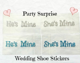 Wedding Shoe Stickers He's Mine She's Mine Clear Rhinestone Blue Rhinestone Engagement Party Bridal Shower Wedding Rehearsal Dinner