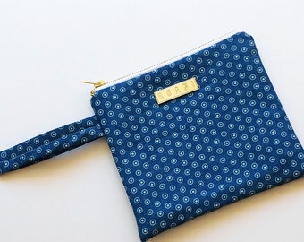Denim Polka Dot Wristlet Purse