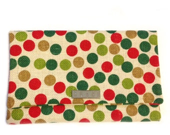 Polka dot clutch bag - red,green and brown
