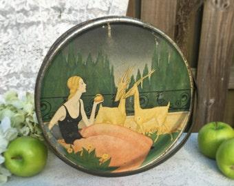 Antique Art Nouveau tin Litho Box w/ handle, picnic basket pail Lady Woman, Loose Wiles, Sewing storage container, advertising, kitchen