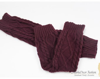 STORE CLOSING SALE Women Knitted Leg Warmers Boot Toppers in Bordeaux