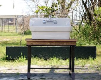 Transitional Reclaimed Wood Sink Stand Single Vanity Porcelain High Back  Farm Sink Package