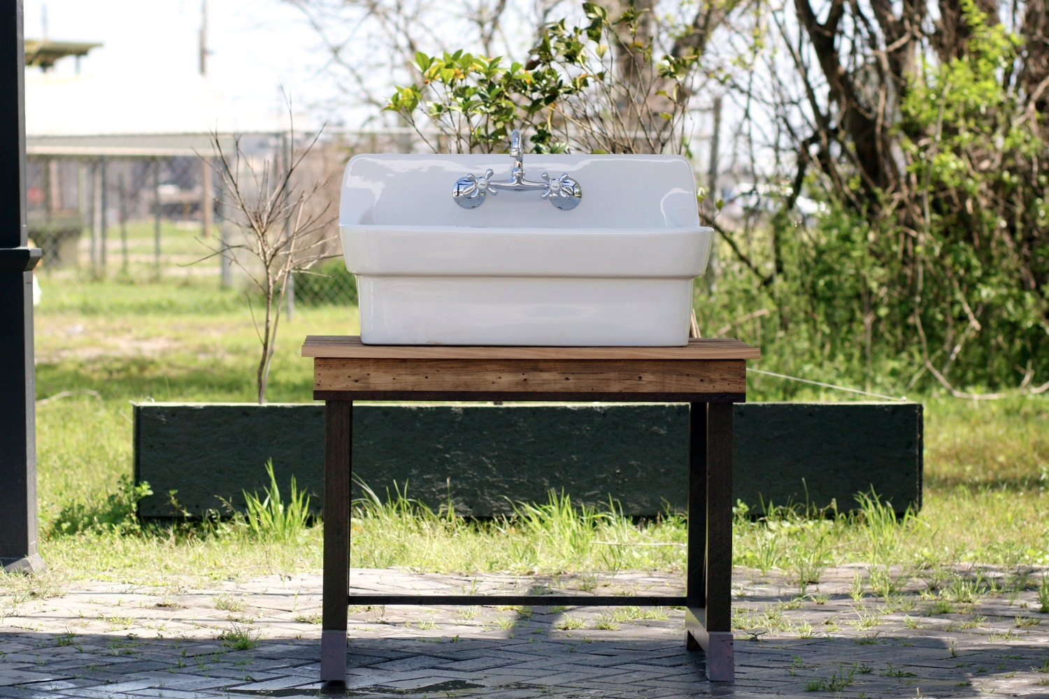 High Back Farmhouse Sink : Porcelain High Back Farm Sink Reclaimed Wood Sink by readytore