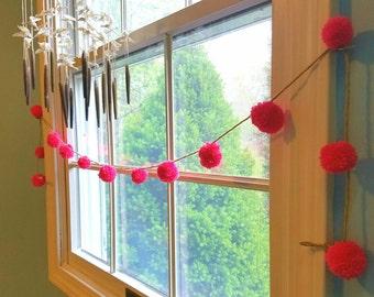 Decorative garland / pink pom pom garland / bright pink and twine garland / rustic garland