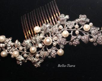 light ivory pearl bridal hair comb, bridal crystal pearl comb, bridal hair accessory, wedding hair comb, bridal hair comb, bridal side comb