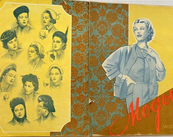 Soviet fashion magazine 1955 from Central universal shop, Moscow. Vintage Men's, women's and children's models of clothes. Free ship with