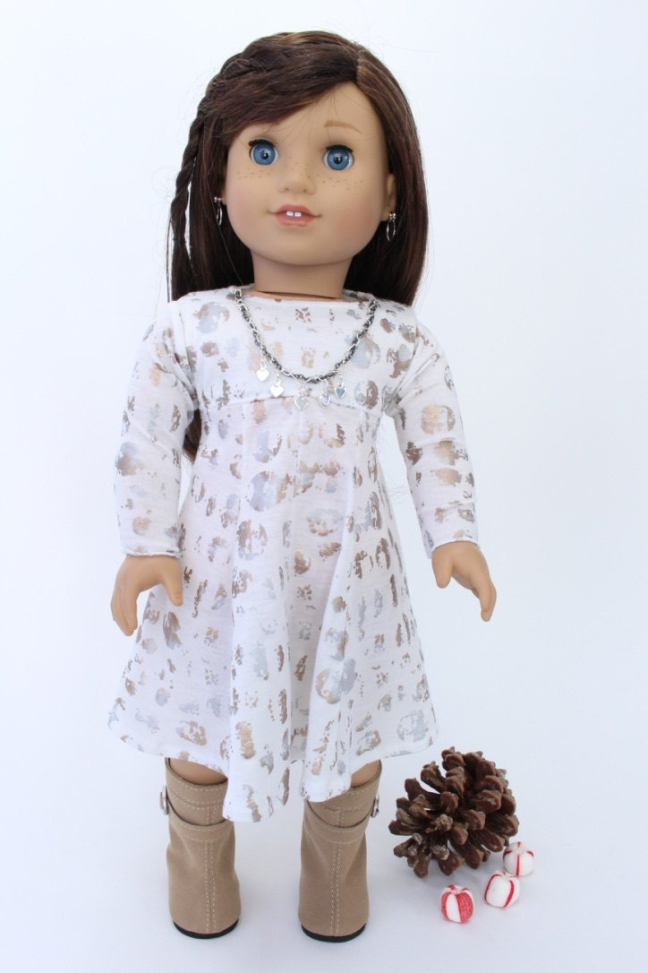 American Girl Doll Clothes Winter Holiday dress: white with