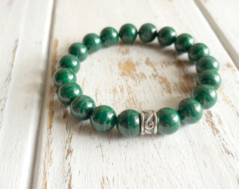Genuine Malachite Bracelet w/ Sterling Silver Charm