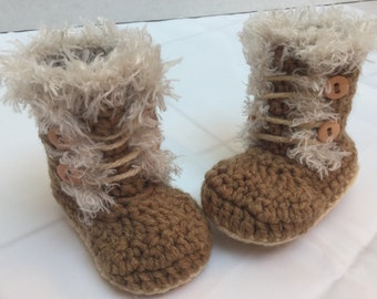 Crocheted Baby Booties, Faux Fur Trim, Size 0-3 Months