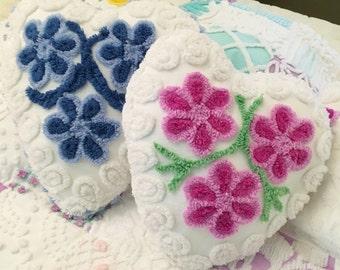 Precious Vintage Chenille Heart Accent Pillow