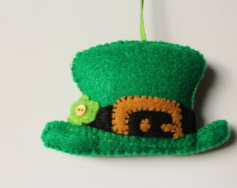 Irish Ornament, Irish Leprechaun Hat, St Patricks Day Ornament, Green Felt Hat, Irish Hat Ornament