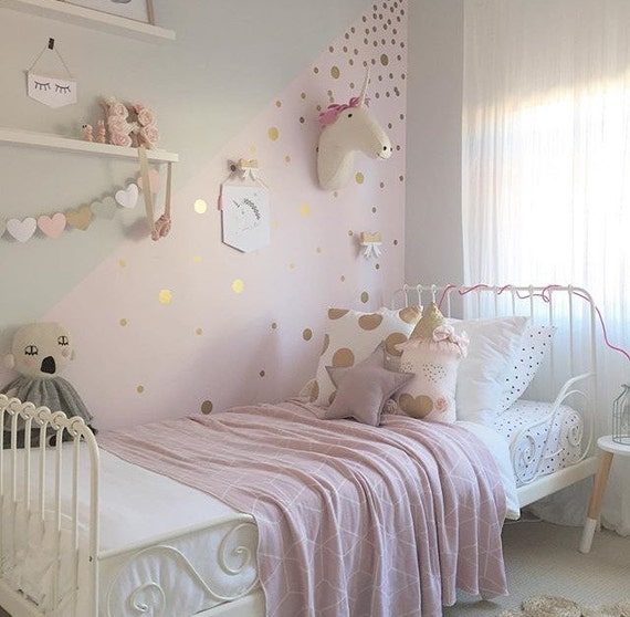 Gold polka dot decals spot decal home decor vinyl wall for Polka dot decorations for bedrooms