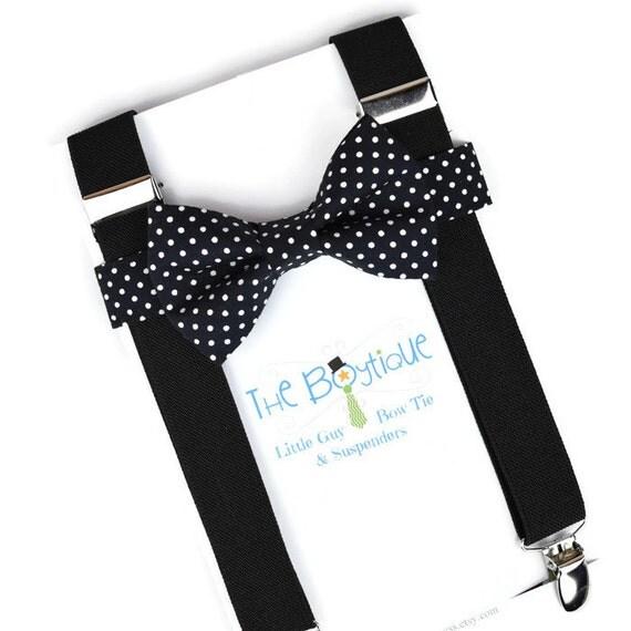 black bow tie and suspenders polka dots black suspenders