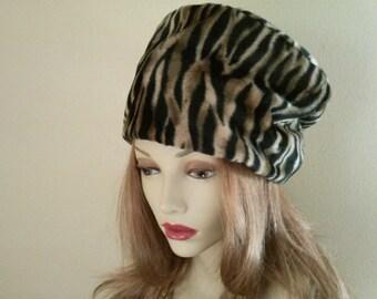 Animal print faux fur hat