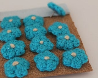 12 crochet forget me not push pins