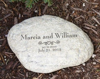 Engraved Marriage Garden Stone, Couple Garden Stone, Personalized Wedding Gift
