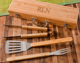 Personalized Grill Set, BBQ Tools, Bamboo Case, Grilling Tools