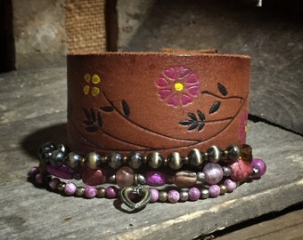 FreeSpirit™ Leather Cuff Bracelet Leather Bracelet Leather Cuff Womens Leather Bracelet Bohemian Style Jewelry