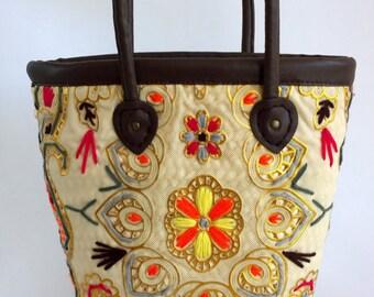 Gypsy Shoulder Bag - Raffia Drawstring Bag - Hmong Tote Bag ( FREE SHIPPING WORLDWIDE )