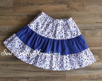 Children's Size 8 - Patriotic Stars with Blue Middle Tier Skirt