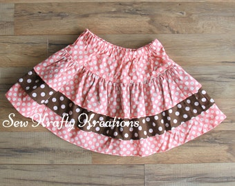 Children's - Peach with White Spots and Brown with White Spots - 3 Tier Skirt