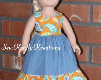 "Denim and Orange/Blue Paisley Print Doll Dress for 18"" doll like American Girl"
