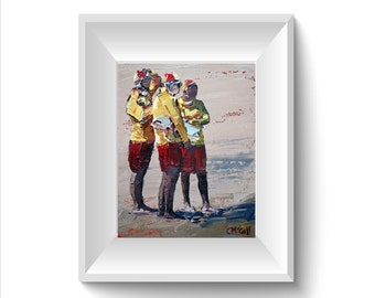 "8""x10"", 12""x15"", art print, palette knife, original oil, impressionist painting, 'Three Lifeguards'. Beach Art. Gift for anyone, Beach House"