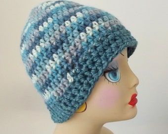 Crochet Wool Hat Cap Turquoise Gray Teal Cream Ladies Teens Ski Outdoor Activities
