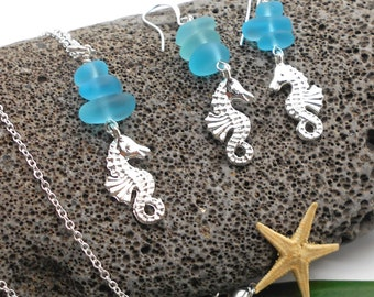 Seahorse Necklace and Earring Set with Turquoise Beach Glass - Shell, Beach Jewelry, Beach Wedding, Shell Jewelry, Seahorse, Sea Horse