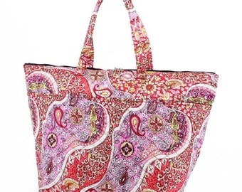 Paisley Quilted Cotton Insulated Tote Cooler Bag*Lunch Tote*Beach*Road Trip*Pool*Park*Games*Tailgating*Pool Party*Cruises*