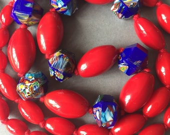 Red & Blue Millefiori Glass Beads Necklace