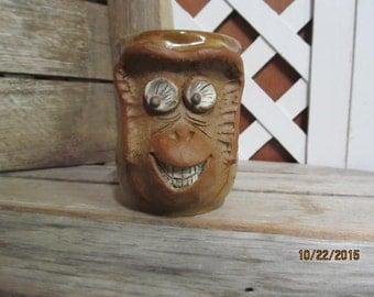 Vintage 3-D Monkey Face Coffee Mug Tea Cup Hand Made Brown Glazed Ceramic