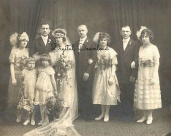 1922 Jazz Age/Roaring Twenties Wedding Party Photo, Edwardian Downton Abbey Wedding Photo, Sepia Tone, Instant PDF, Digital Download