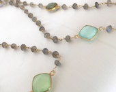 Elegant multigemstone labradorite long necklace with vermeil gold bezeled semiprecious gemstones (chalcedony amethyst moonstone quartz)
