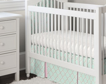 Girl Baby Crib Bedding: Mint and Pink Quatrefoil 2-Piece Crib Bedding Set by Carousel Designs