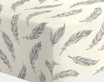 Boy Baby Bedding / Girl Baby Bedding / Neutral Baby Bedding : Natural Gray Feathers Crib Sheet by Carousel Designs