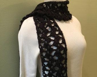 Scarf, women, handmade, crochet, soft acrylic yarn, black, accessory