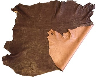Brown coppery lambskin leather with metallic finish in sheepskin hides great for craft material FS920-5