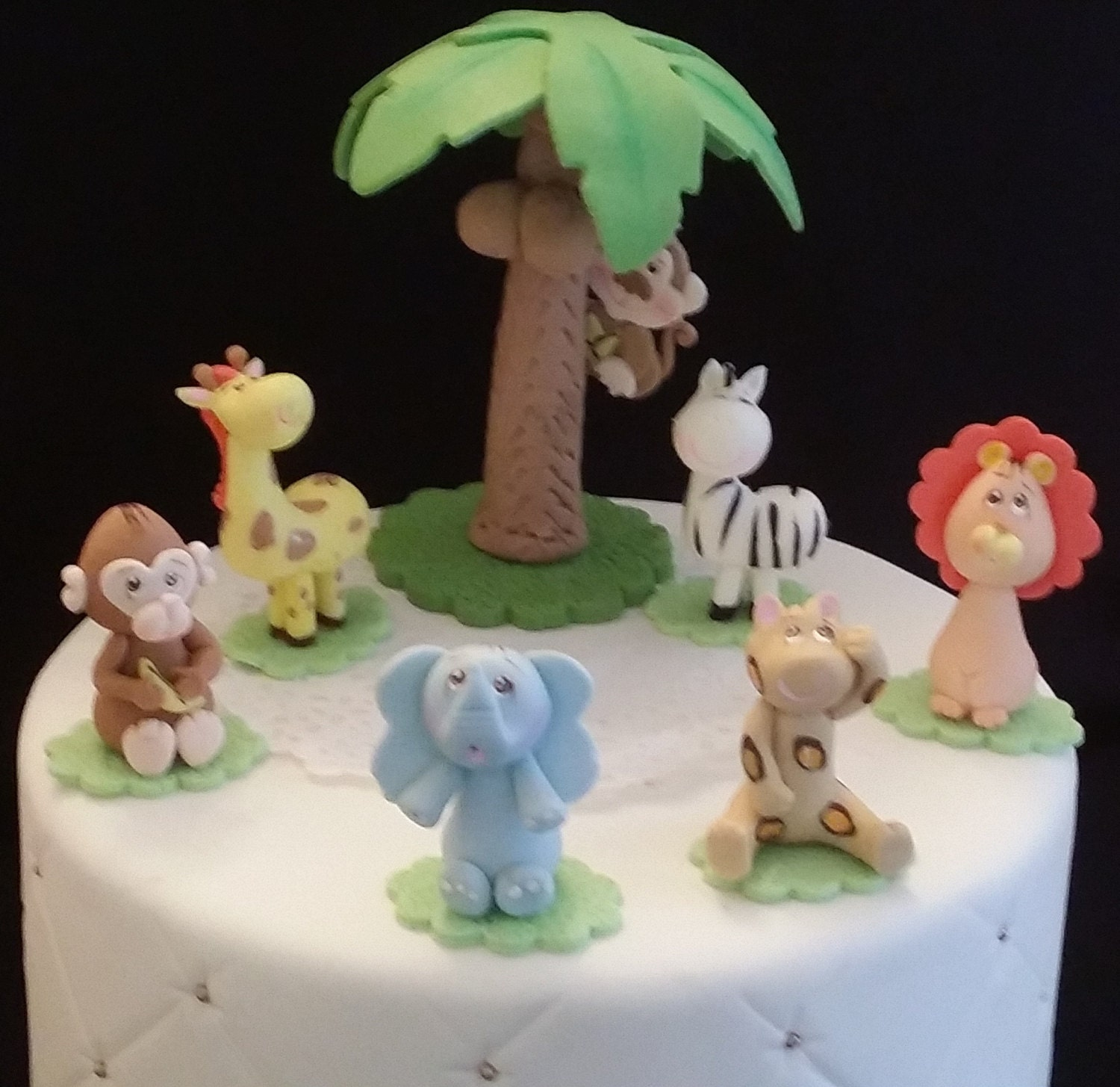 Jungle favor 7 jungle animals cake topper baby jungle cake for Animal cake decoration