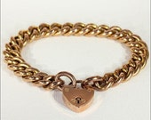 SALE Antique 9k Rose Gold Curb Link Bracelet with Heart Lock Clasp, Hallmarked 1904