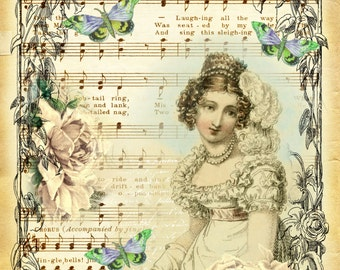 Art print on Old music Sheet, vintage lady, upcycle media, vintage antique music paper