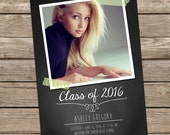 INSTANT DOWNLOAD: Graduation Announcement Template - Chalkboard & Washi Tape