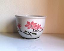 Vintage Liling China White & Magnolia Blossom Planter